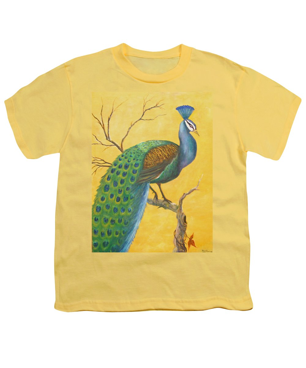 Peacock; Birds; Fall Leaves Youth T-Shirt featuring the painting Proud As A Peacock by Ben Kiger