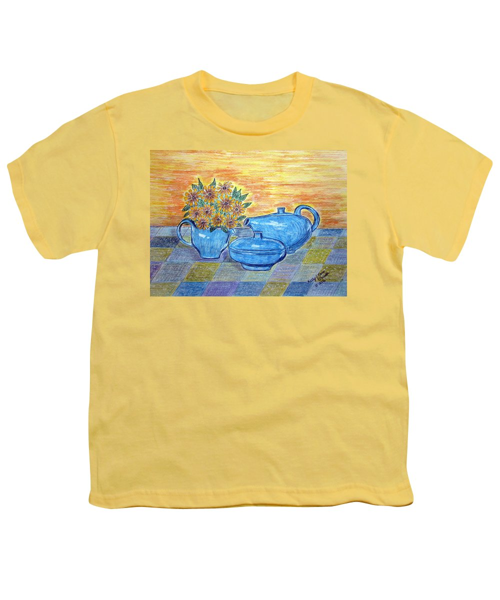 Russell Wright China Youth T-Shirt featuring the painting Russel Wright China by Kathy Marrs Chandler