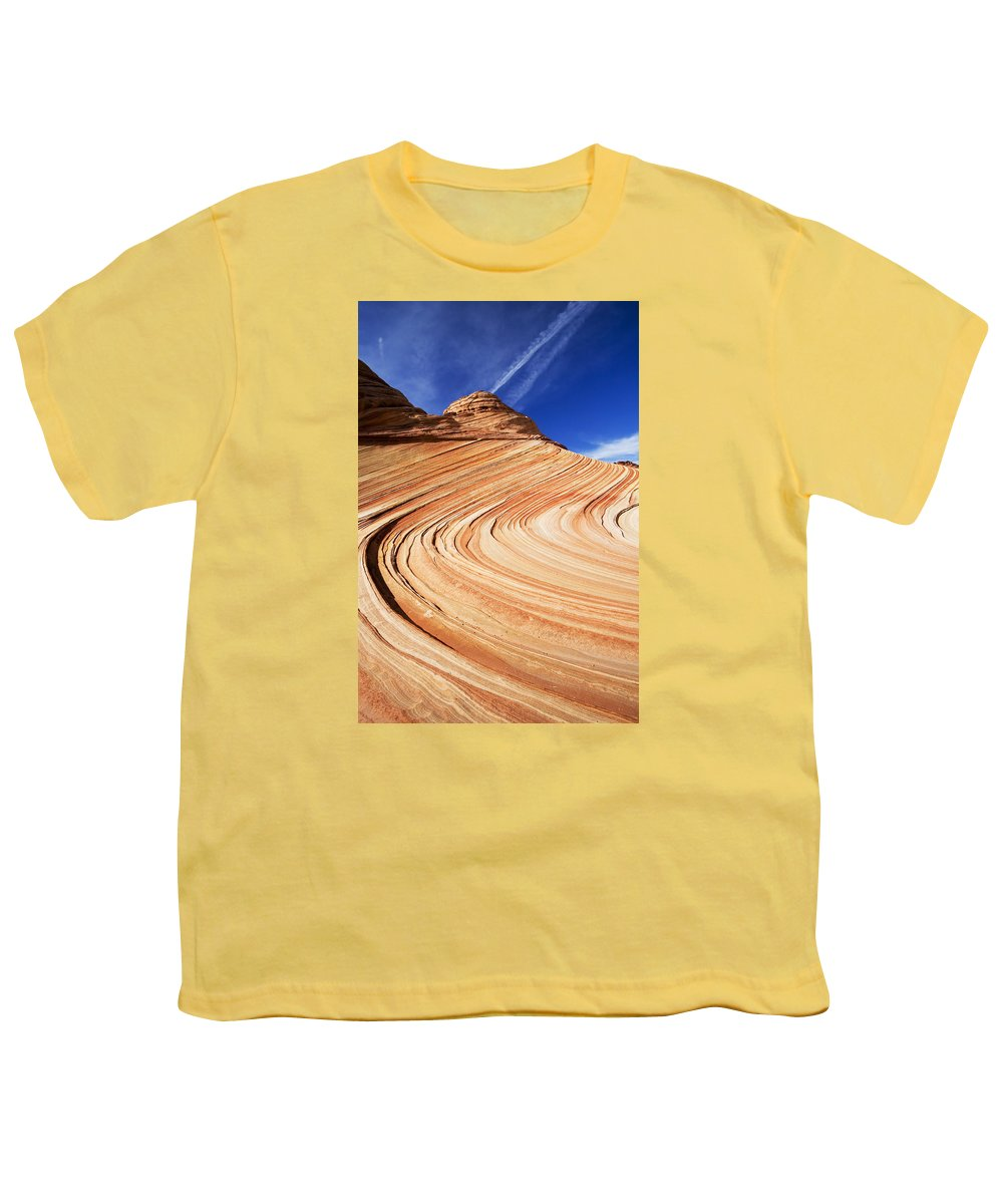 The Wave Youth T-Shirt featuring the photograph Sandstone Slide by Mike Dawson