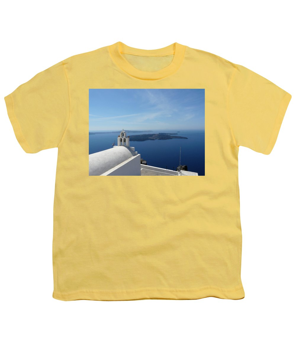 Landscape Youth T-Shirt featuring the photograph Santorini Greece by Valerie Ornstein
