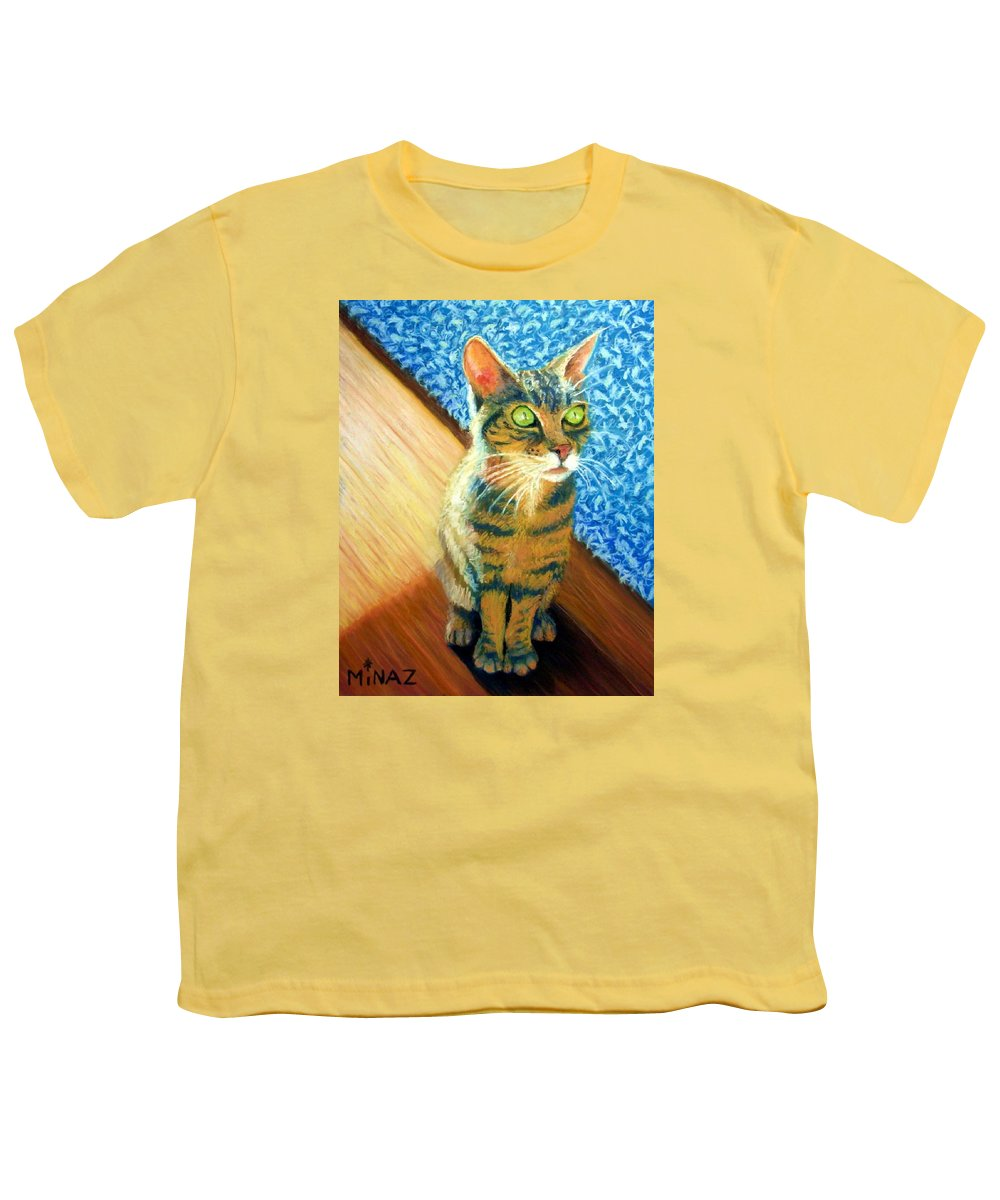 Cat Youth T-Shirt featuring the painting She Wants To Be Famous by Minaz Jantz