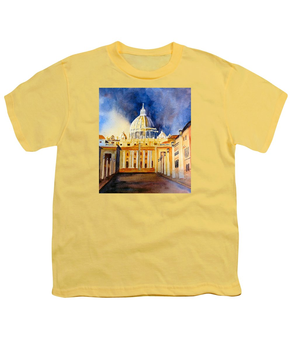 Vatican Youth T-Shirt featuring the painting St. Peters Basilica by Karen Stark