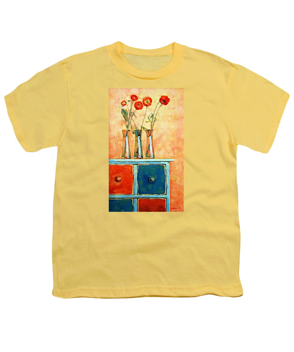 Poppies Youth T-Shirt featuring the painting Still Life With Poppies by Iliyan Bozhanov