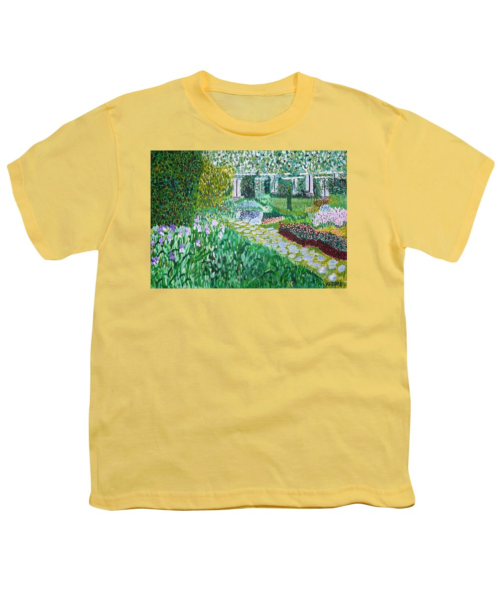 Landscape Youth T-Shirt featuring the painting Tete D'or Park Lyon France by Valerie Ornstein