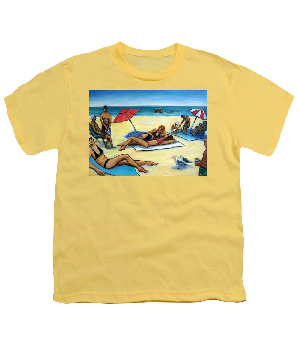 Beach Scene Youth T-Shirt featuring the painting The Beach by Valerie Vescovi