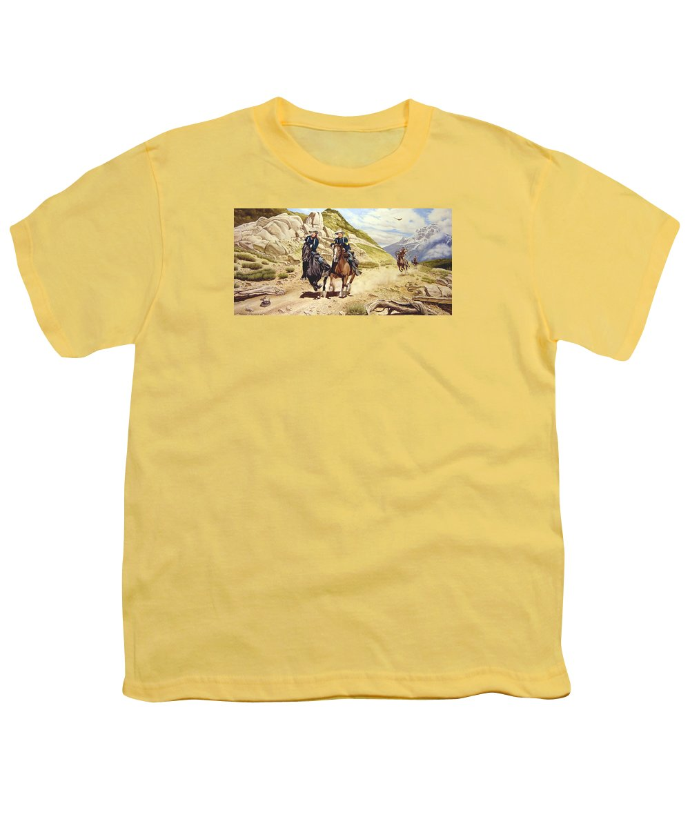 Western Youth T-Shirt featuring the painting The Chase by Marc Stewart