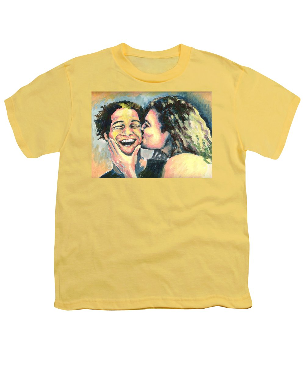 Man Youth T-Shirt featuring the painting The Kiss by Nicole Zeug