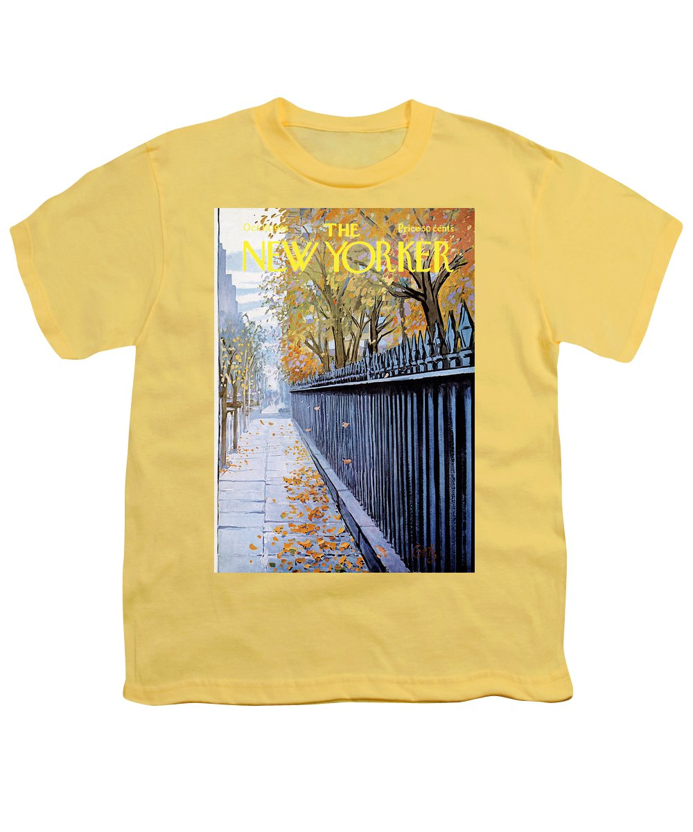 Season Youth T-Shirt featuring the painting Autumn In New York by Arthur Getz