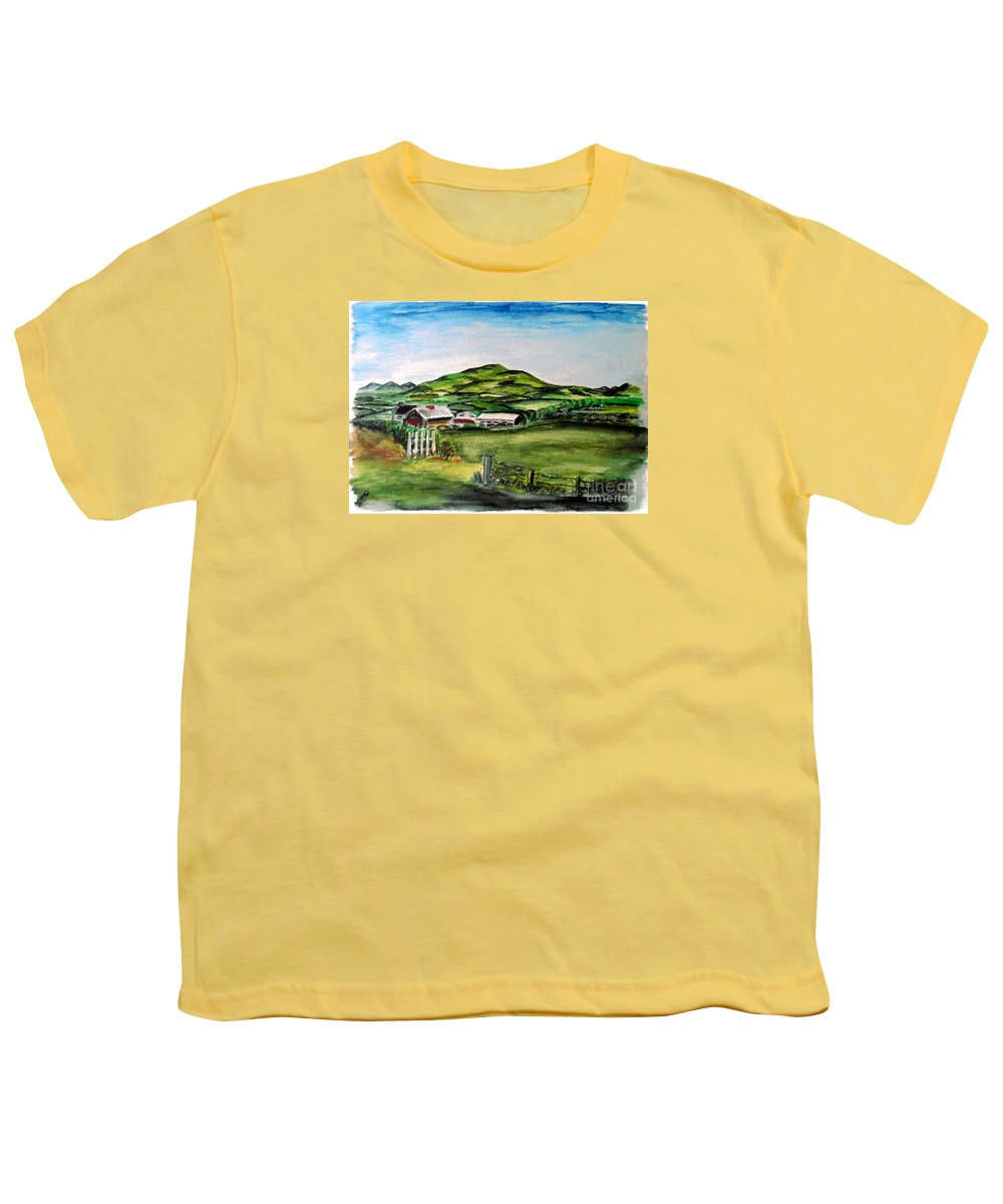 Landscape Youth T-Shirt featuring the painting The Old Farm by Alan Hogan