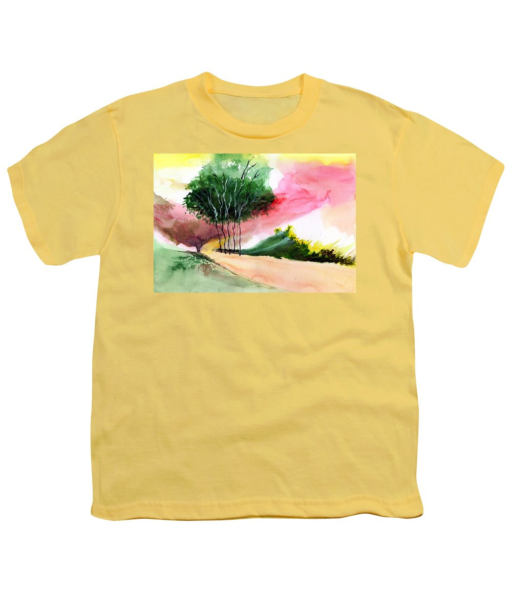 Watercolor Youth T-Shirt featuring the painting Walk Away by Anil Nene