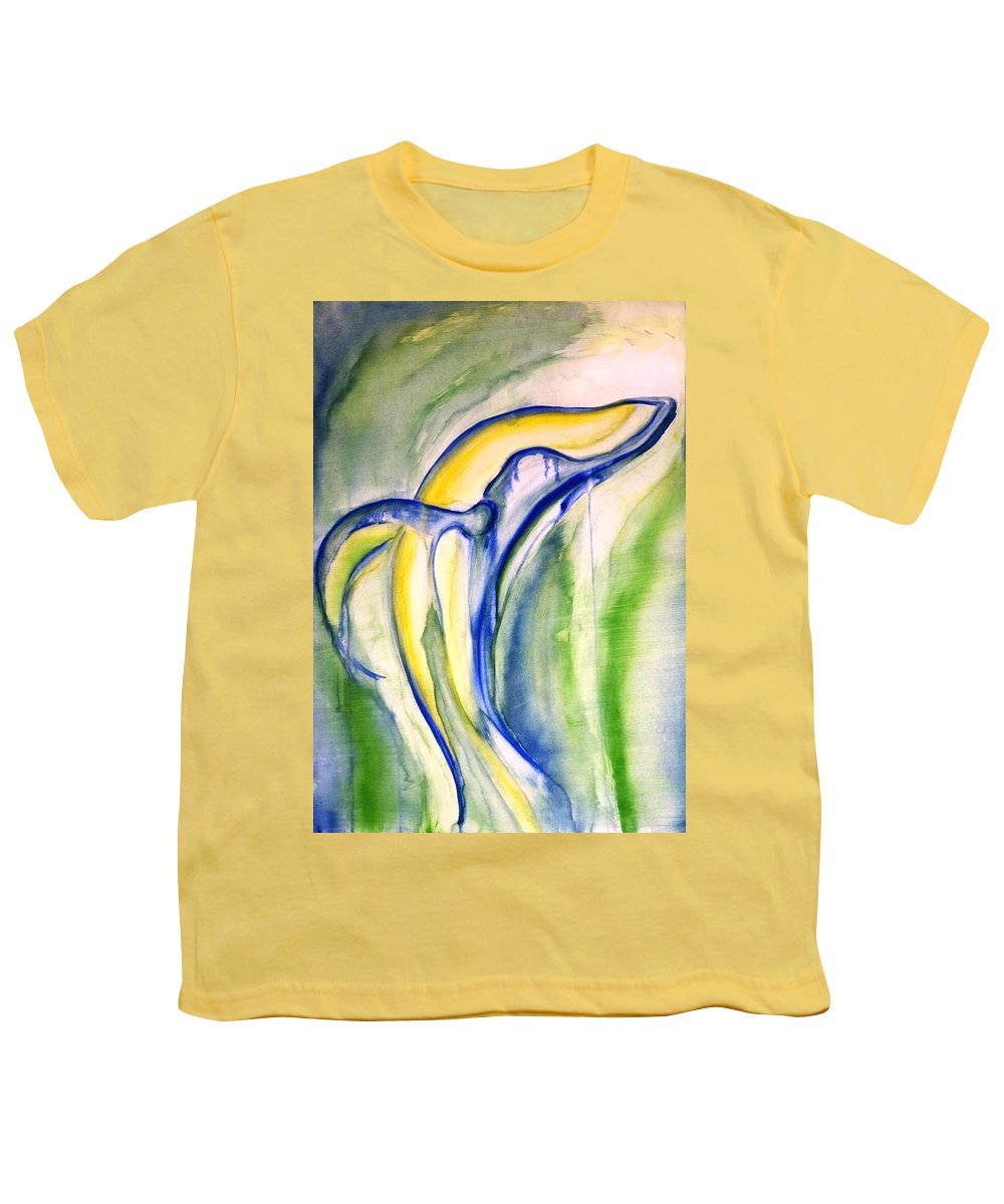 Watercolor Youth T-Shirt featuring the painting Whale by Sheridan Furrer