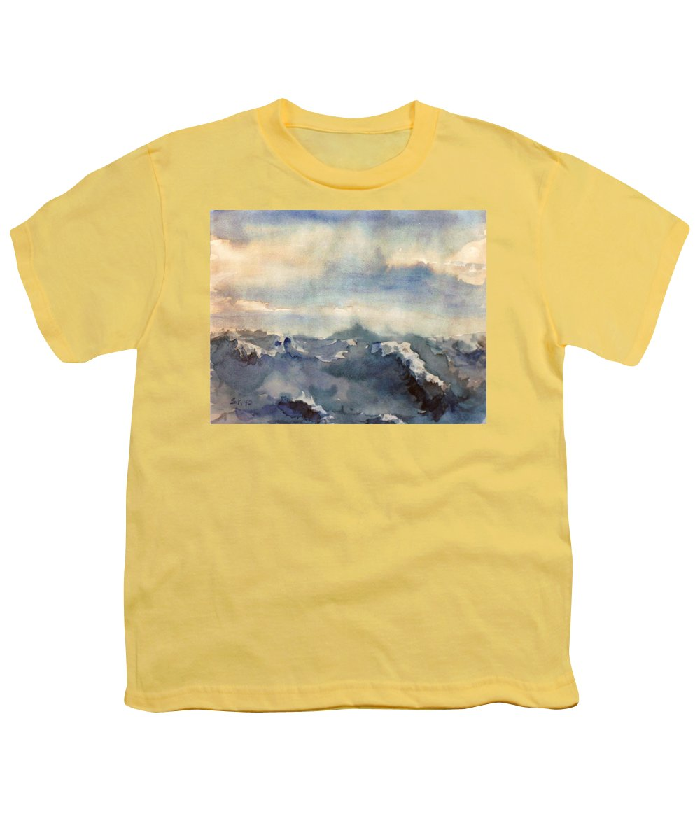Seascape Youth T-Shirt featuring the painting Where Sky Meets Ocean by Steve Karol
