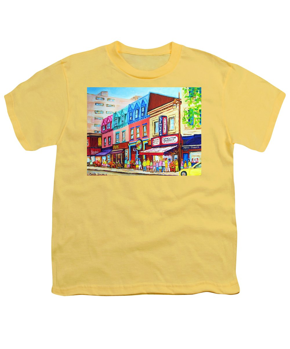 Reastarant Youth T-Shirt featuring the painting Yellow Car At The Smoked Meat Lineup by Carole Spandau