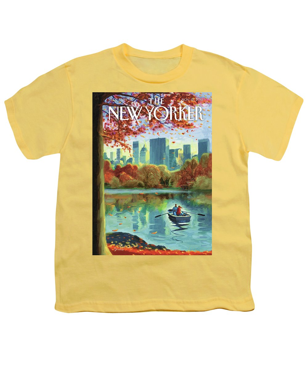 Autumn Central Park Youth T-Shirt featuring the drawing Autumn Central Park by Eric Drooker
