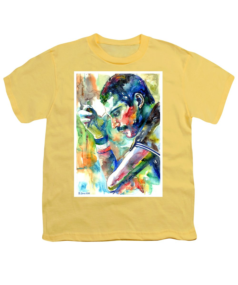 Freddie Mercury Youth T-Shirt featuring the painting Freddie Mercury With Cigarette by Suzann Sines