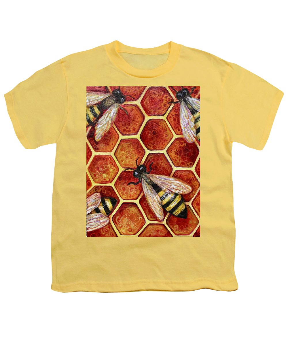 Bees Youth T-Shirt featuring the painting Honey Bees by Kate Fortin