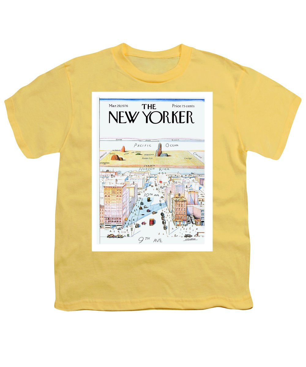 #condenastnewyorkercover Youth T-Shirt featuring the painting New Yorker March 29, 1976 by Saul Steinberg