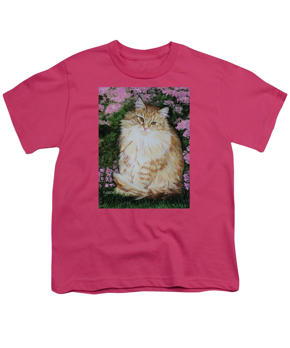 'cat Print Fine Art Youth T-Shirt featuring the painting Kitten Cat Painting Perfect For Child's Room Art by Diane Jorstad