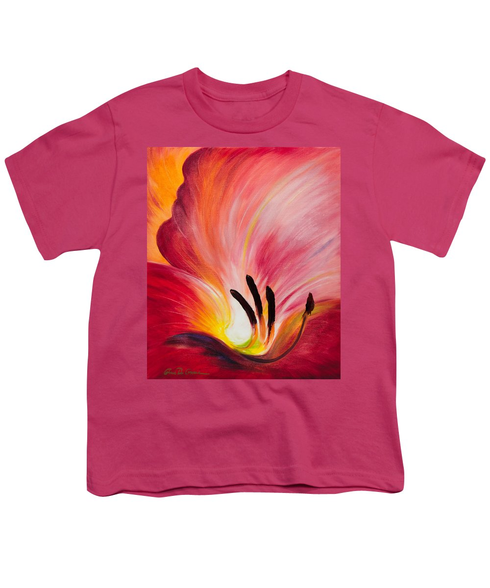 Red Youth T-Shirt featuring the painting From The Heart Of A Flower Red I by Gina De Gorna