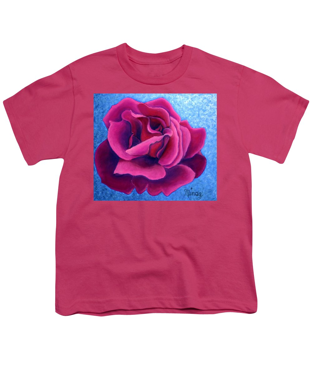 Rose. Pink Rose Youth T-Shirt featuring the painting A Rose Is A Rose.. by Minaz Jantz