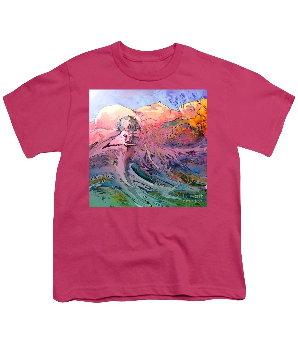 Miki Youth T-Shirt featuring the painting Eroscape 10 by Miki De Goodaboom
