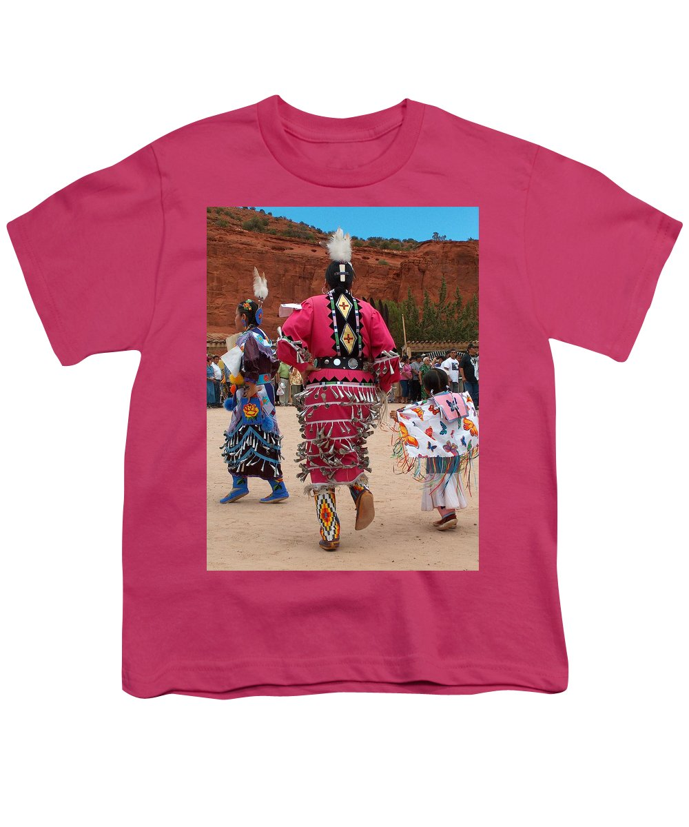 Pow-wow Youth T-Shirt featuring the photograph Jingle Dress And Fancy Shawl Dancers by Tim McCarthy