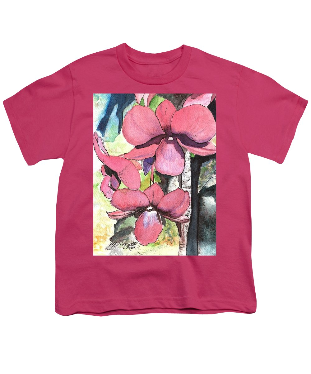 Orchid Youth T-Shirt featuring the painting Kiahuna Orchids by Marionette Taboniar
