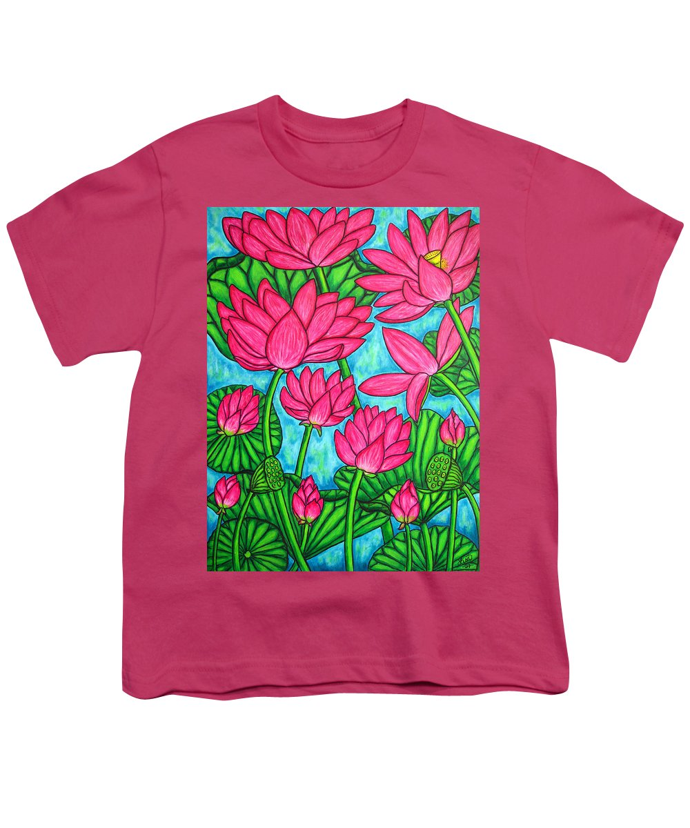 Youth T-Shirt featuring the painting Lotus Bliss by Lisa Lorenz