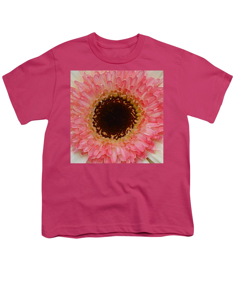 Daisy Youth T-Shirt featuring the painting Pink And Brown Gerber Center by Amy Vangsgard