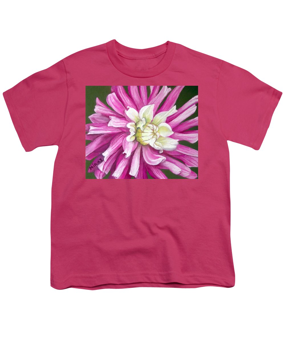 Floral Youth T-Shirt featuring the painting Pink Petal Blast by Minaz Jantz