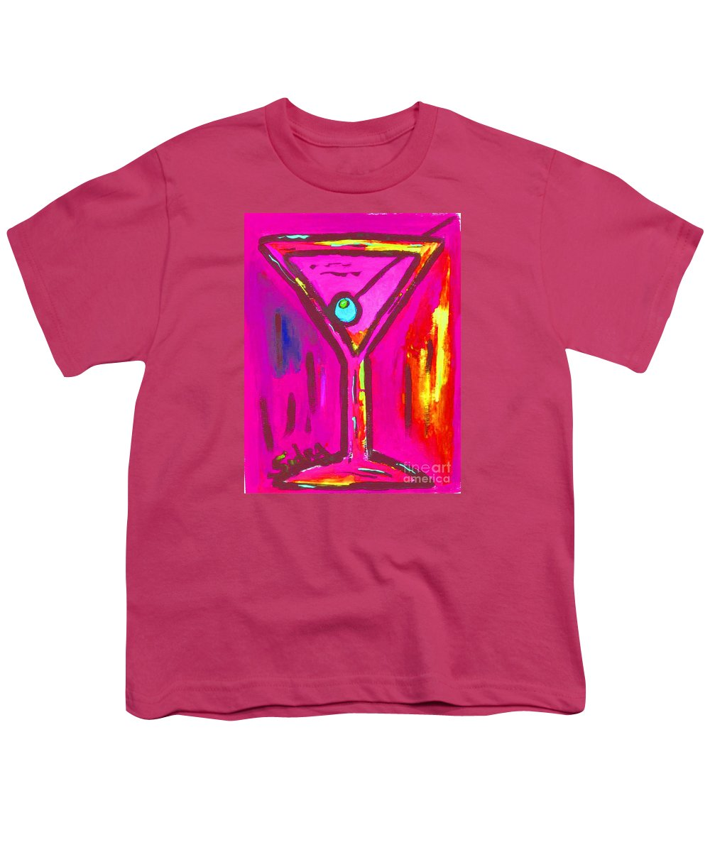 Martini Youth T-Shirt featuring the painting Pop Art Martini Pink Neon Series 1989 by Sidra Myers