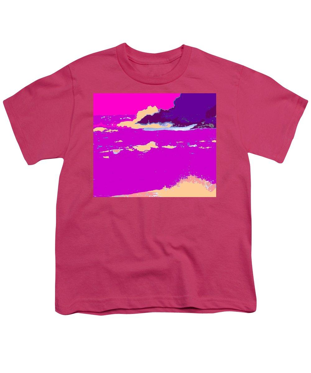 Waves Youth T-Shirt featuring the photograph Purple Crashing Waves by Ian MacDonald