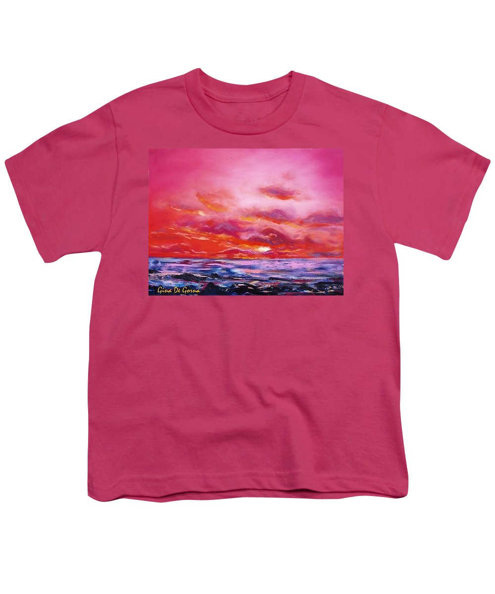 Red Youth T-Shirt featuring the painting Red Sunset by Gina De Gorna