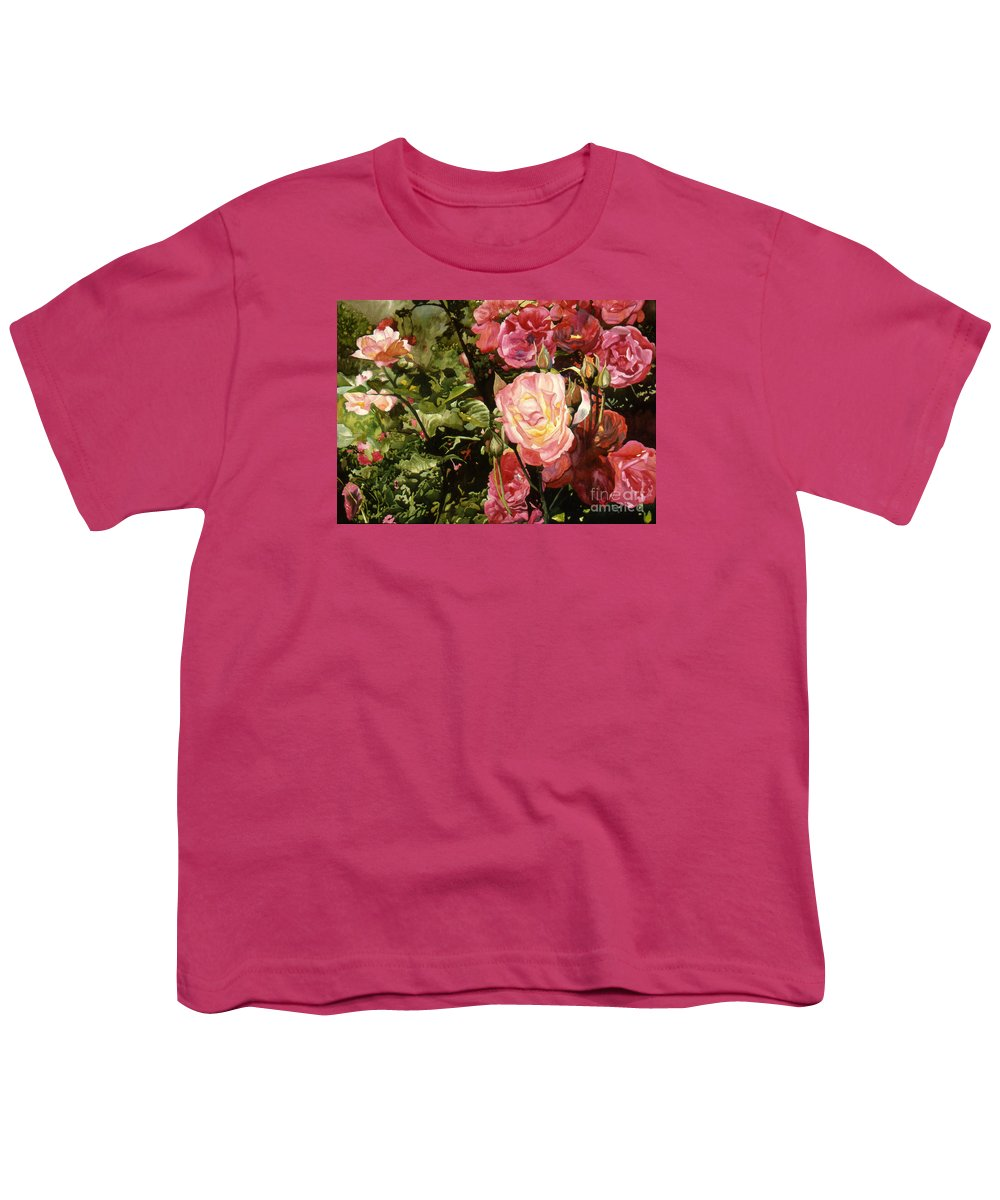 Watercolor Youth T-Shirt featuring the painting Rose Garden by Teri Starkweather
