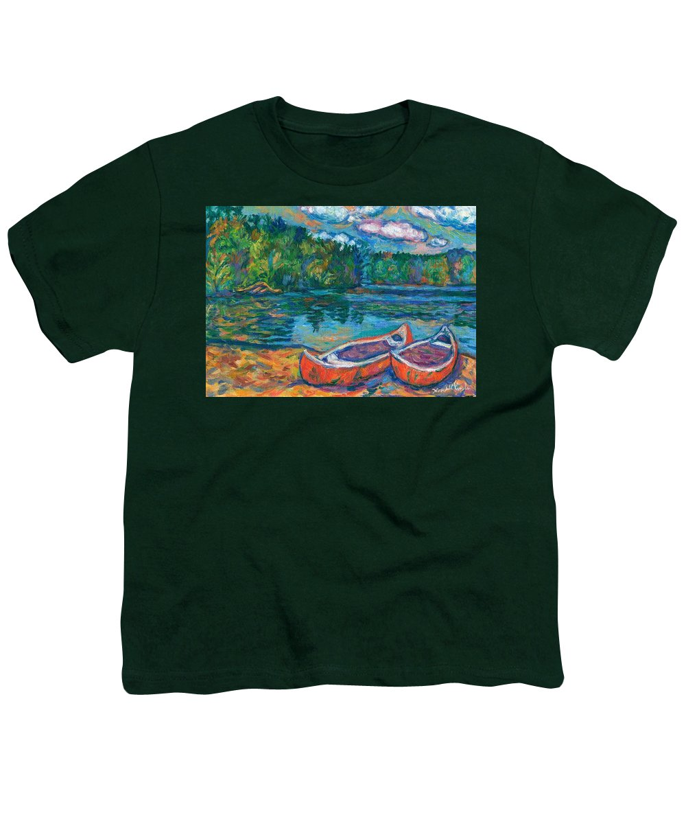 Landscape Youth T-Shirt featuring the painting Canoes At Mountain Lake Sketch by Kendall Kessler
