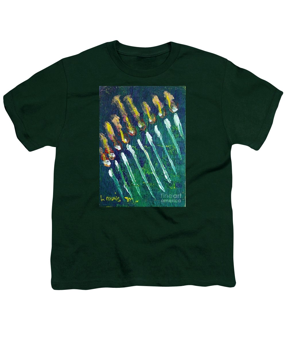 Chanukah Youth T-Shirt featuring the painting Chanukiah In The Dark by Laurie Morgan