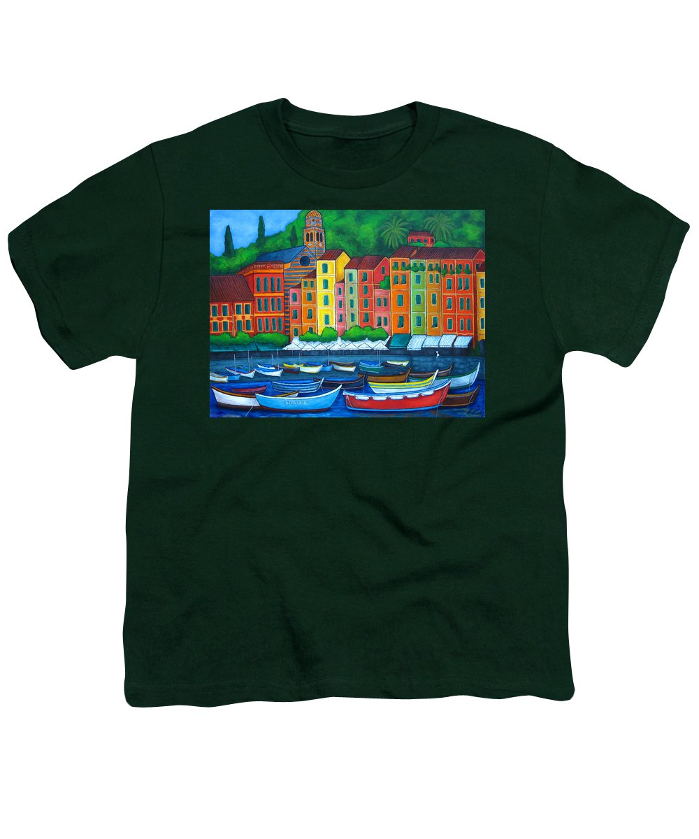 Portofino Youth T-Shirt featuring the painting Colours Of Portofino by Lisa Lorenz
