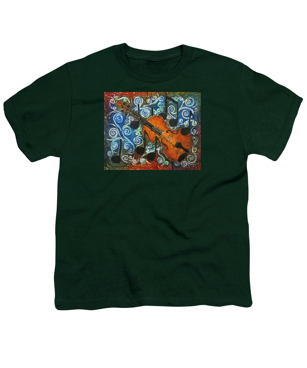 Fiddle Youth T-Shirt featuring the painting Fiddle 1 by Sue Duda