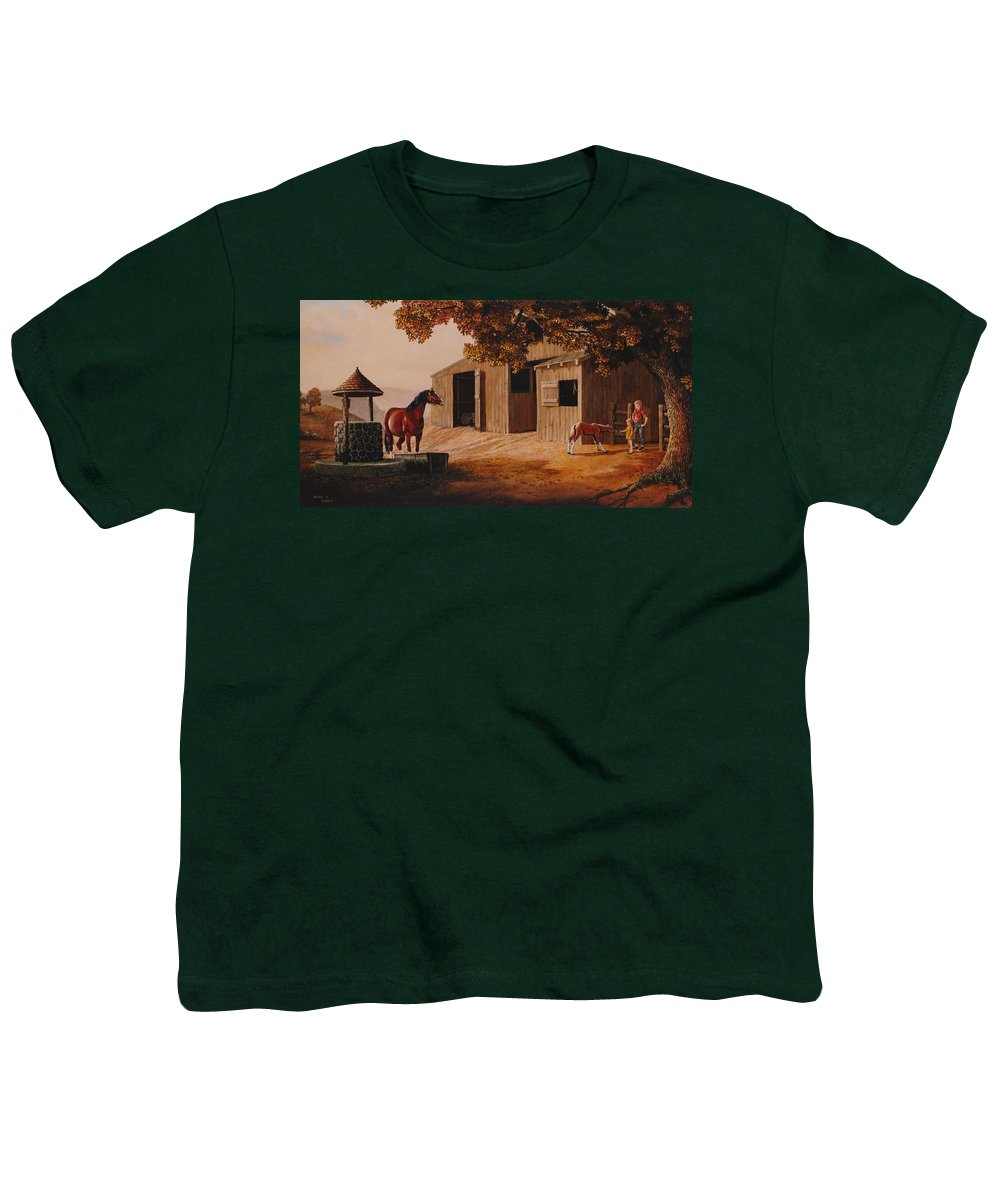 Farm Youth T-Shirt featuring the painting First Meeting by Duane R Probus