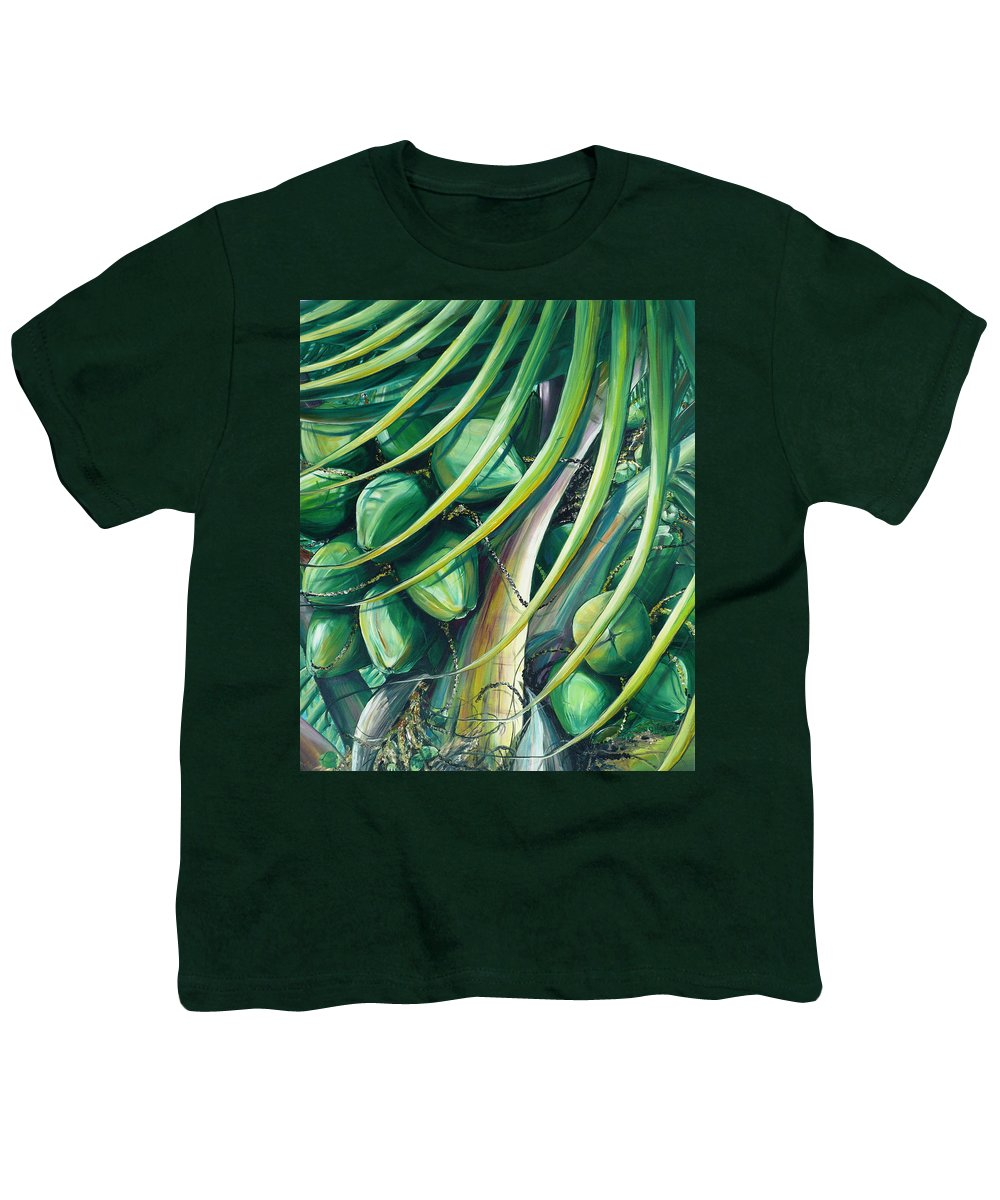 Coconut Painting Caribbean Painting Coconuts Caribbean Tropical Painting Palm Tree Painting  Green Botanical Painting Green Painting Youth T-Shirt featuring the painting Green Coconuts 2 by Karin Dawn Kelshall- Best