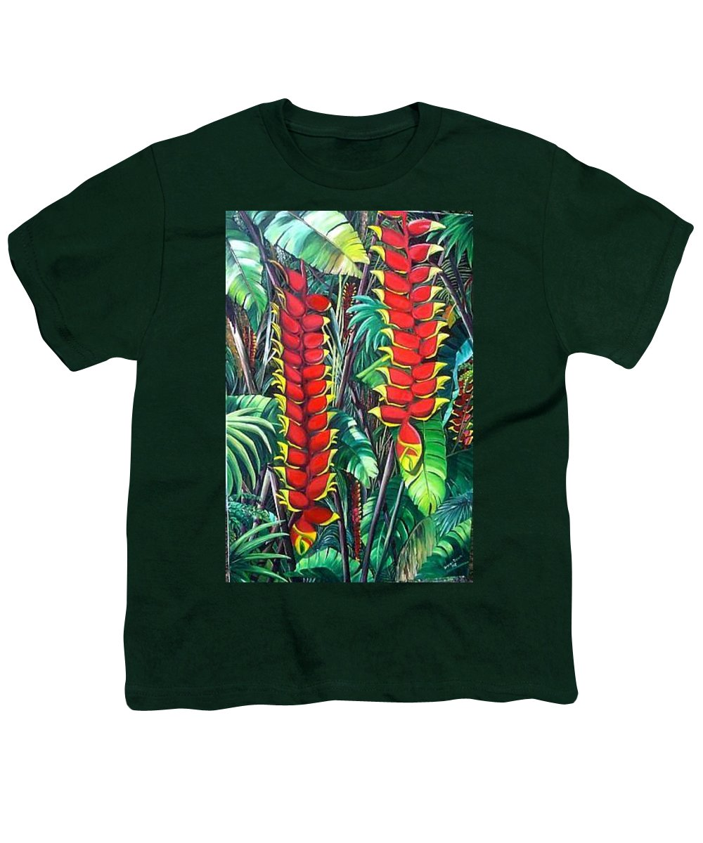 Heliconia Painting Hanging Red Heliconia Tropical Painting Youth T-Shirt featuring the painting Heliconia Rostrata by Karin Dawn Kelshall- Best