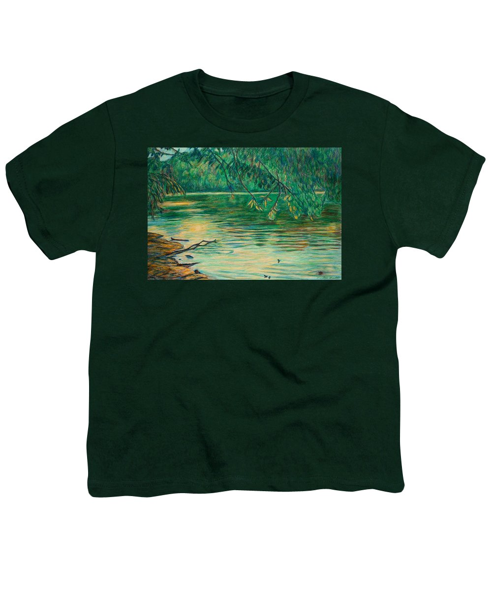 Landscape Youth T-Shirt featuring the painting Mid-spring On The New River by Kendall Kessler