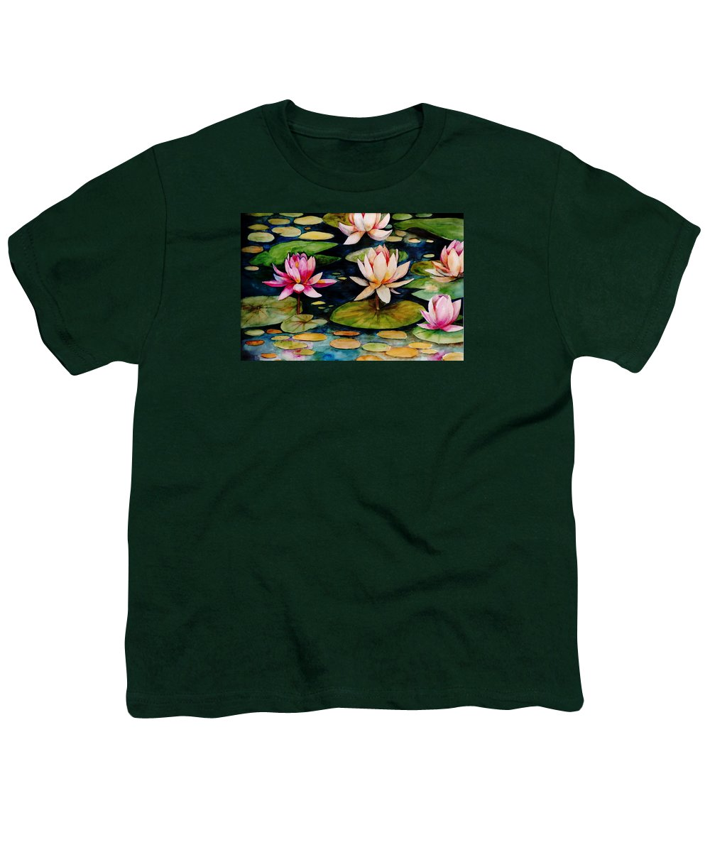 Lily Youth T-Shirt featuring the painting On Lily Pond by Jun Jamosmos