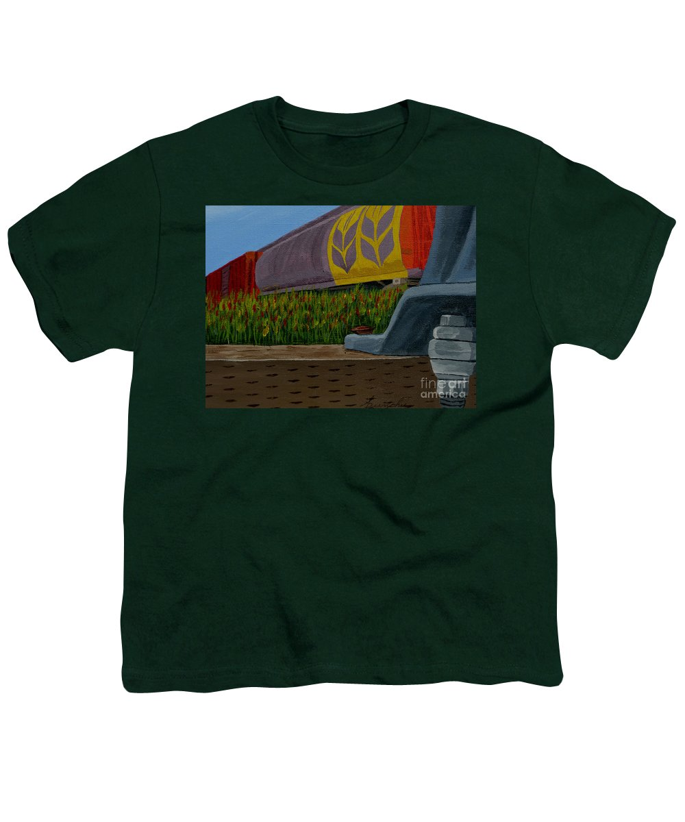 Train Youth T-Shirt featuring the painting Passing The Wild Ones by Anthony Dunphy