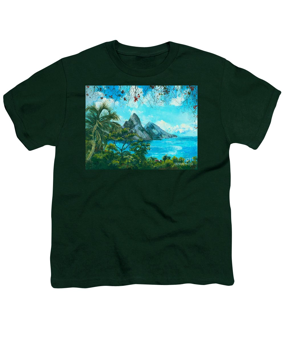 Mountains Youth T-Shirt featuring the painting St. Lucia - W. Indies by Elisabeta Hermann