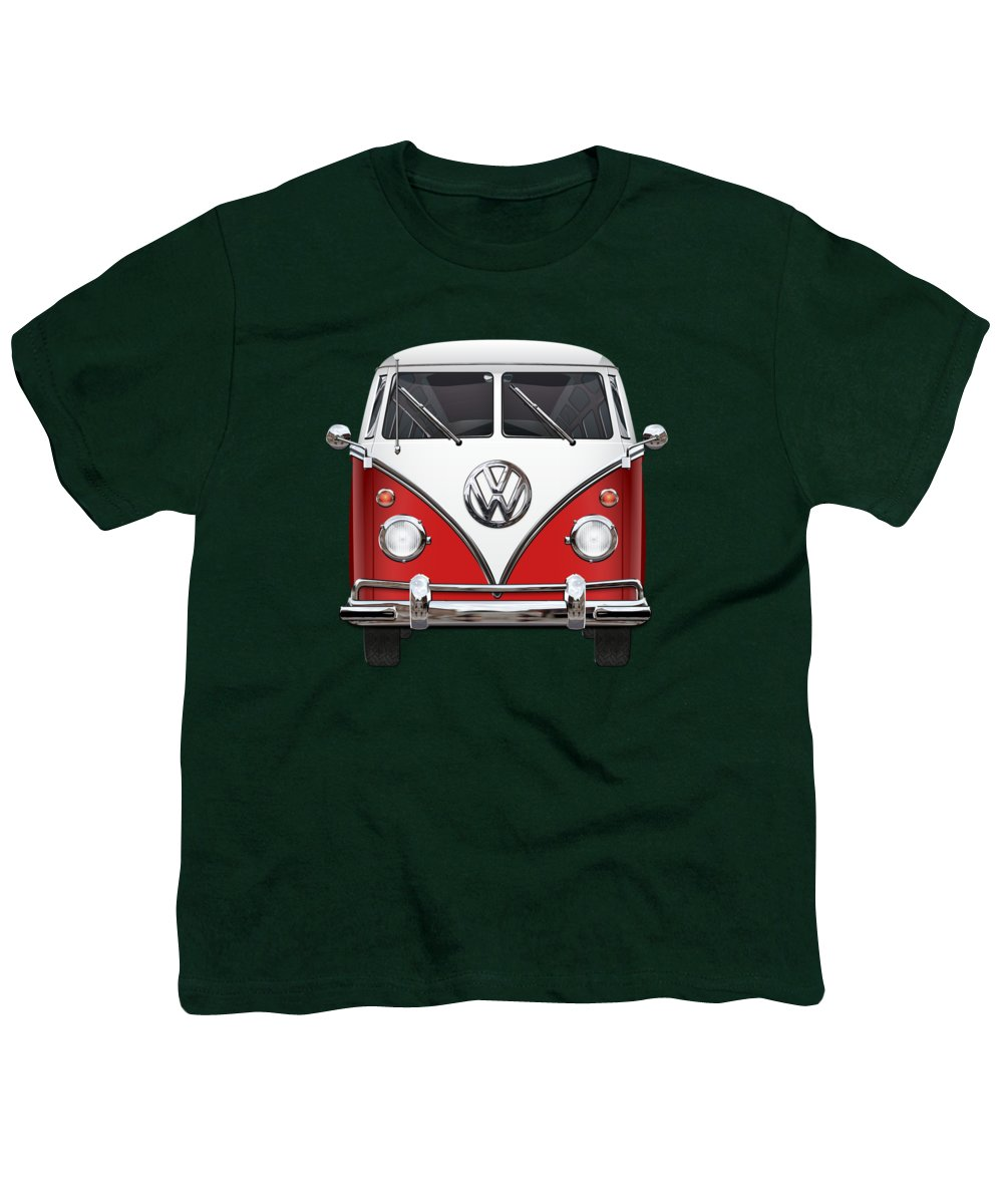 'volkswagen Type 2' Collection By Serge Averbukh Youth T-Shirt featuring the photograph Volkswagen Type 2 - Red And White Volkswagen T 1 Samba Bus Over Green Canvas by Serge Averbukh