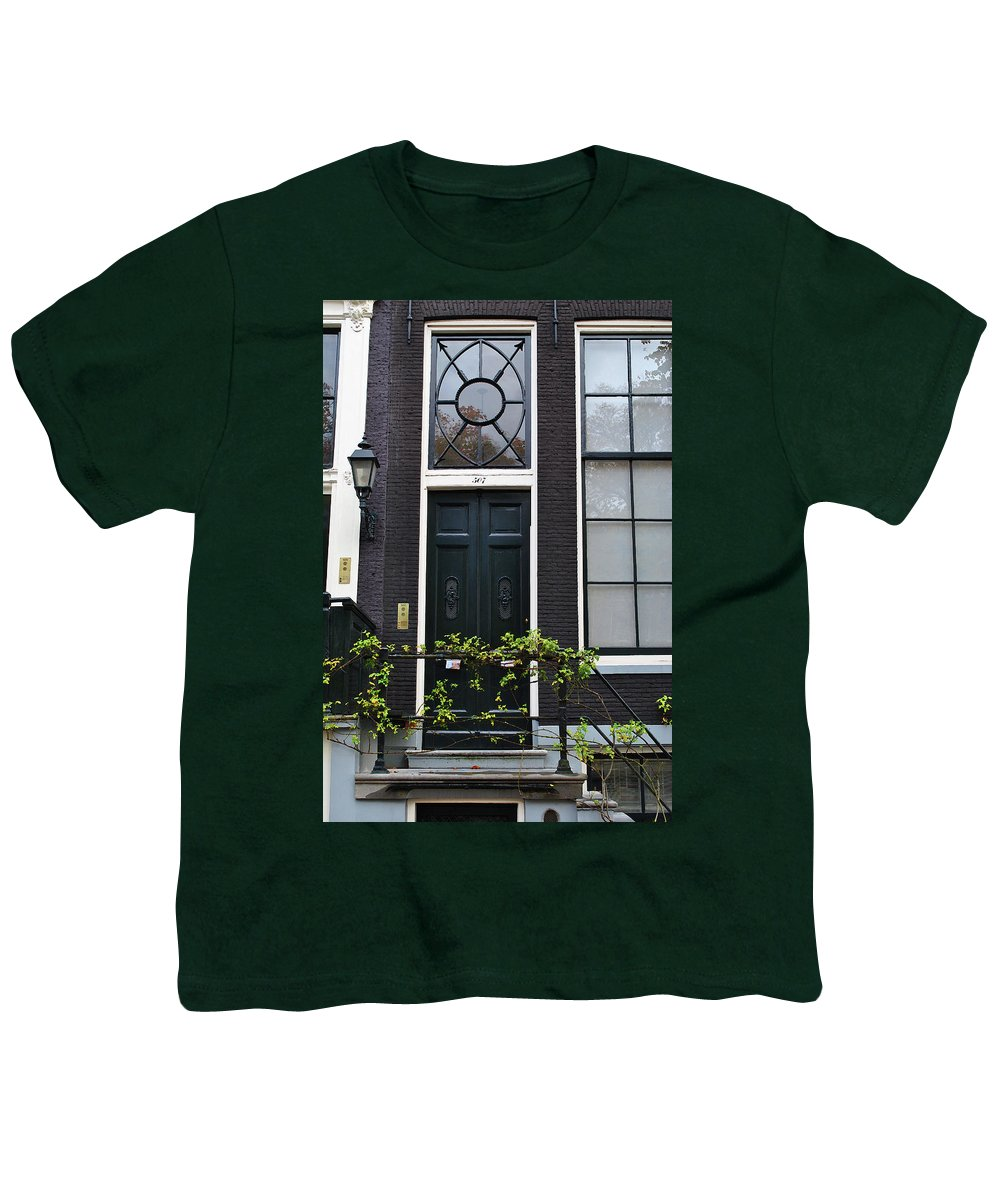 Amsterdam Youth T-Shirt featuring the photograph 507 Doors Of Amsterdam Green by Jost Houk