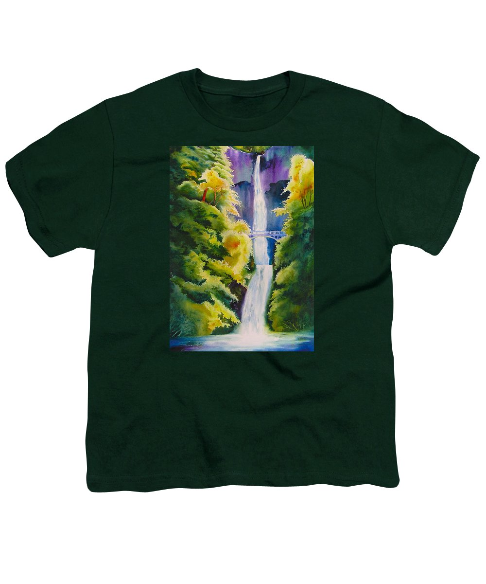 Waterfall Youth T-Shirt featuring the painting A Favorite Place by Karen Stark