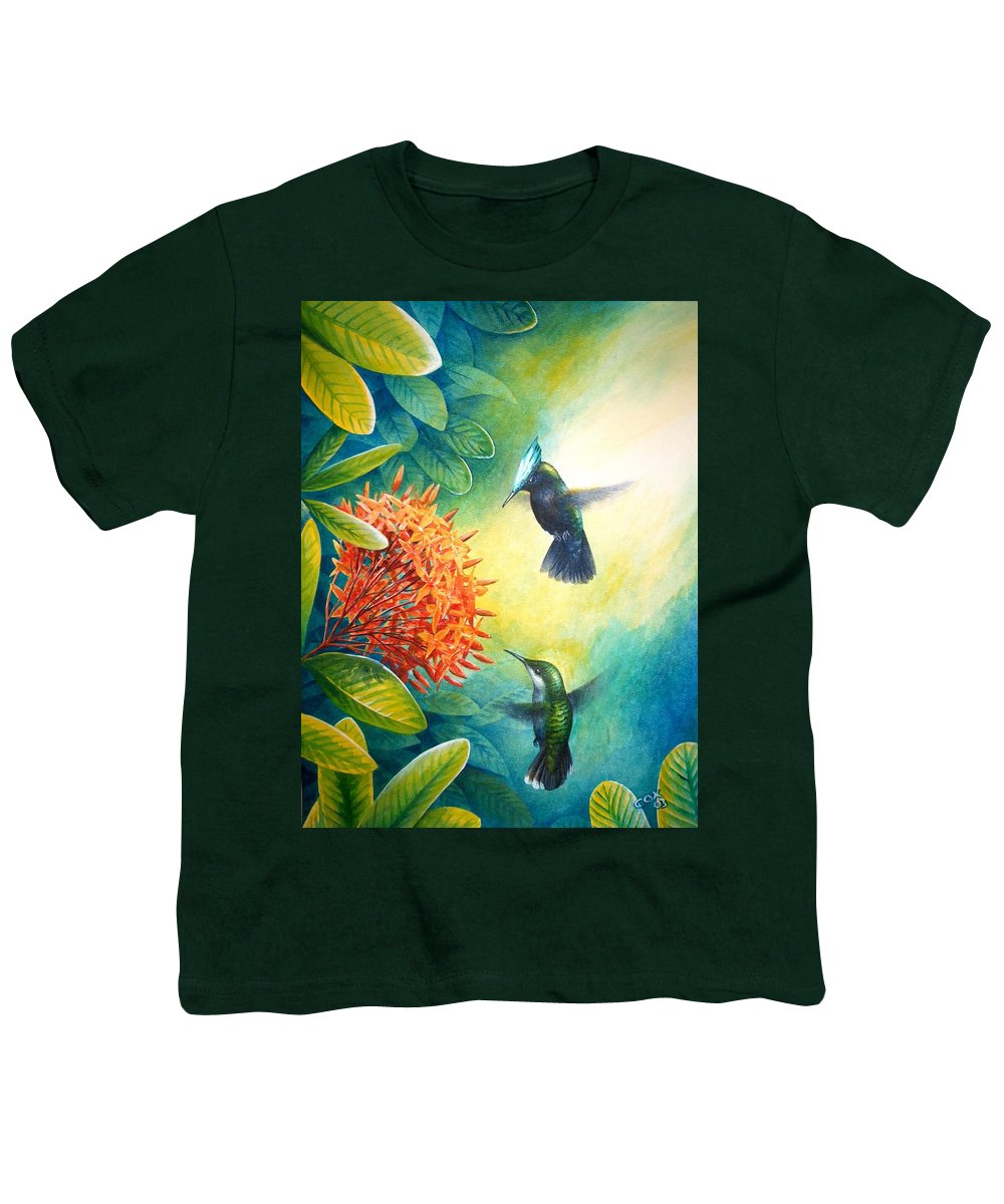 Chris Cox Youth T-Shirt featuring the painting Antillean Crested Hummingbirds And Ixora by Christopher Cox