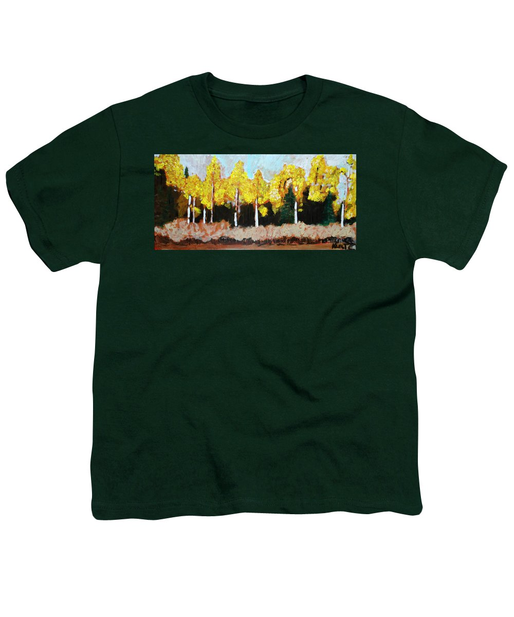 Fall Youth T-Shirt featuring the painting Aspens by Kurt Hausmann
